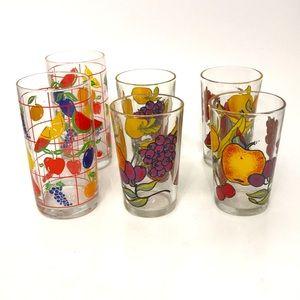 Vintage fruit drinks glasses